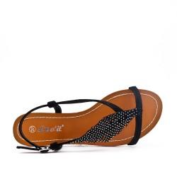Sandale noire à motif feuille