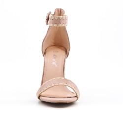 Sandalia de gamuza rosa de imitación