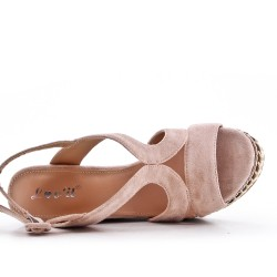Sandalia cuña gamuza rosa
