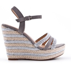 Gray wedge sandal with braided strap