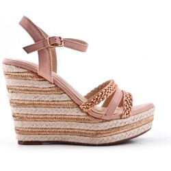 Pink wedge sandal with braided strap