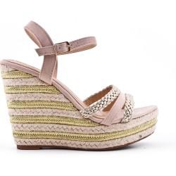 Sandale compensée beige à bride tressée