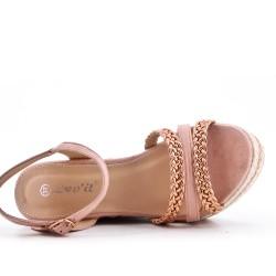 Sandale compensée rose à bride tressée