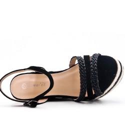 Sandale compensée noire à bride tressée