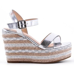 Wedge sandal silver faux leather
