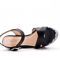 Wedge sandal black faux leather