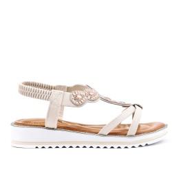 Ecru sandal with rhinestones