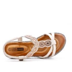 Sandale écru orné de strass