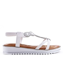 White sandal with rhinestones