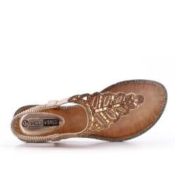 Sandale Tong dorée ornée de strass