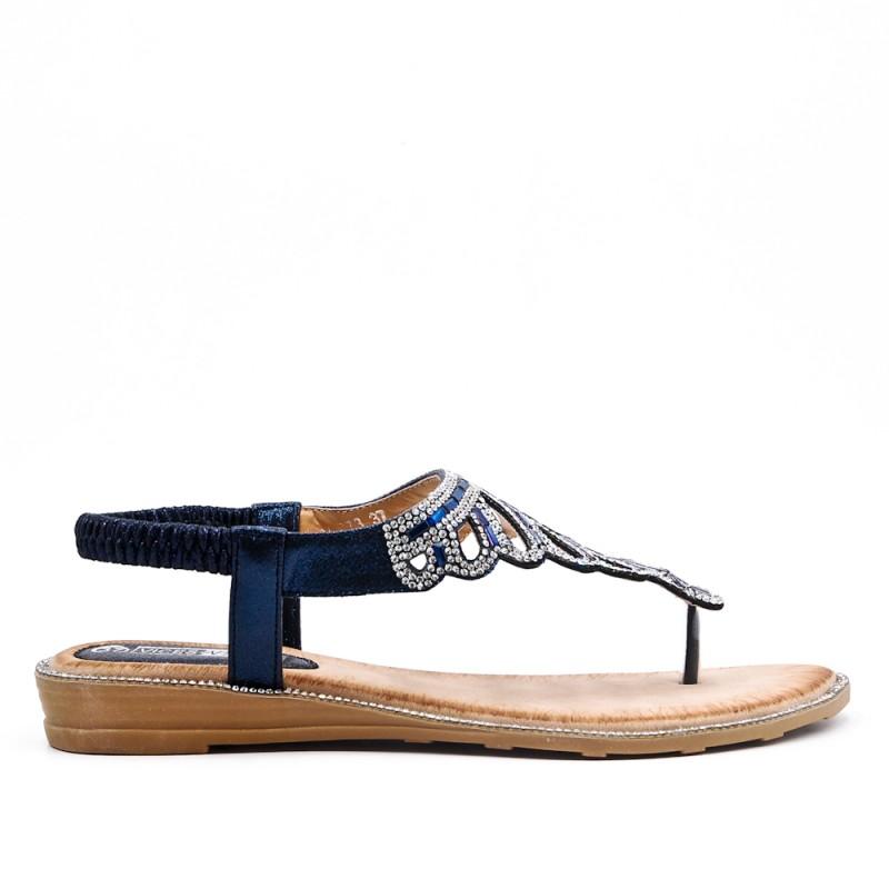 3b42d5c8badf Blue Tong sandal with rhinestones.