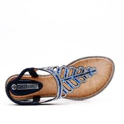 Sandale Tong bleu ornée de strass