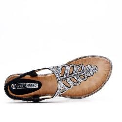 Sandale Tong noir ornée de strass