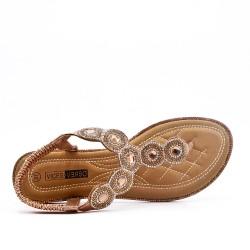 Sandale Tong doré ornée de strass