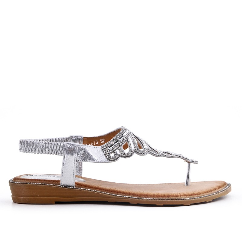 1f5a86ff6347 Silver Tong sandal with rhinestones.