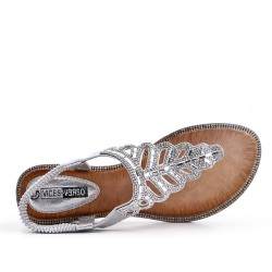 Sandale Tong argent ornée de strass