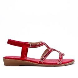 Sandale rouge orné de strass