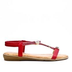 Sandale rouge à bijoux