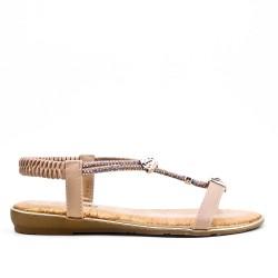 Sandale beige à bijoux