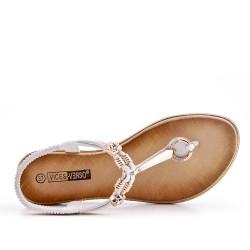 Sandale Tong blanche à bijoux