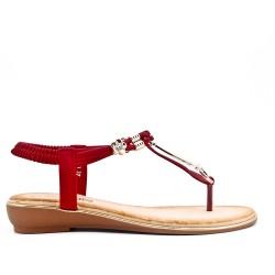 Sandale Tong rouge à bijoux
