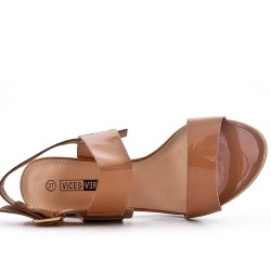 Sandale beige en vernis