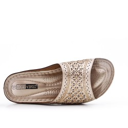 Golden comfort mule in faux leather