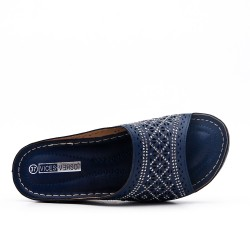 Blue comfort mule in faux leather
