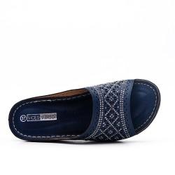 Mule confort bleu en simili cuir