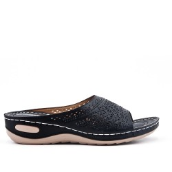 Black comfort mule in faux leather