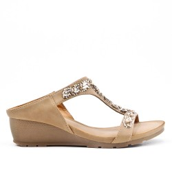 Beige comfort mule in imitation leather with rhinestones