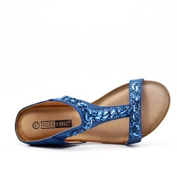 Blue comfort mule in imitation leather with rhinestones