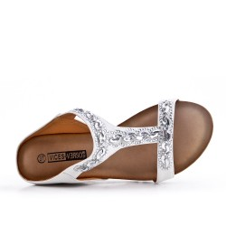 White comfort mule in imitation leather with rhinestones