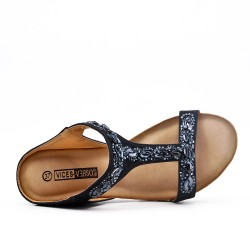 Black comfort mule in imitation leather with rhinestones