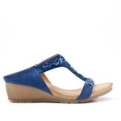 Mule confort bleu en simili cuir à strass