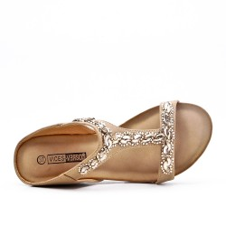 Big size -Beige comfort mule in imitation leather with rhinestones
