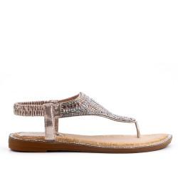 Sandale dorée à strass