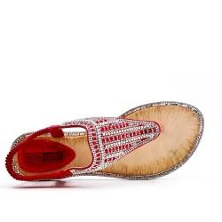 Sandale rouge à strass