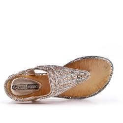 Tamaño grande - Sandalia de diamantes de imitación de oro