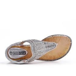 Grande taille - Sandale argent à strass