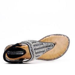 Grande taille - Sandale noire à strass