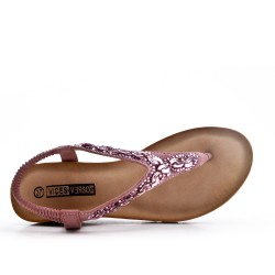 Pink sandal with rhinestones and small wedge