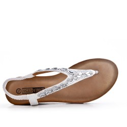 Big Size -White sandal with rhinestones and small wedge