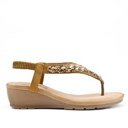Camel sandal with rhinestones and small wedge