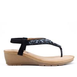 Sandale noire ornée de strass à petit compensé