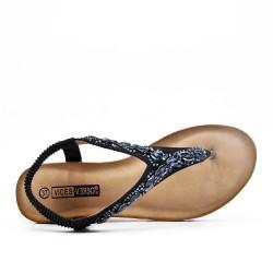Tamaño grande - Sandalia negra con strass y cuña pequeña