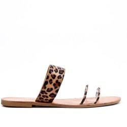 Tamaño grande -Zapatilla estampada leopardo