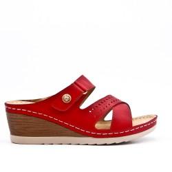 Mule confort rouge en simili cuir
