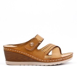 Camel comfort mule in imitation leather