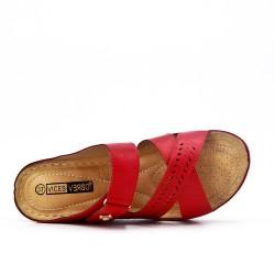Tamaño grande -Mula rojo de confort en piel sintética